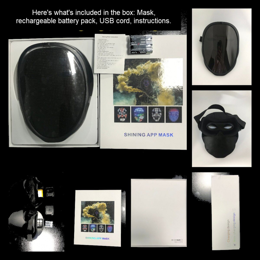 Programmable LED light mask - What's in the box