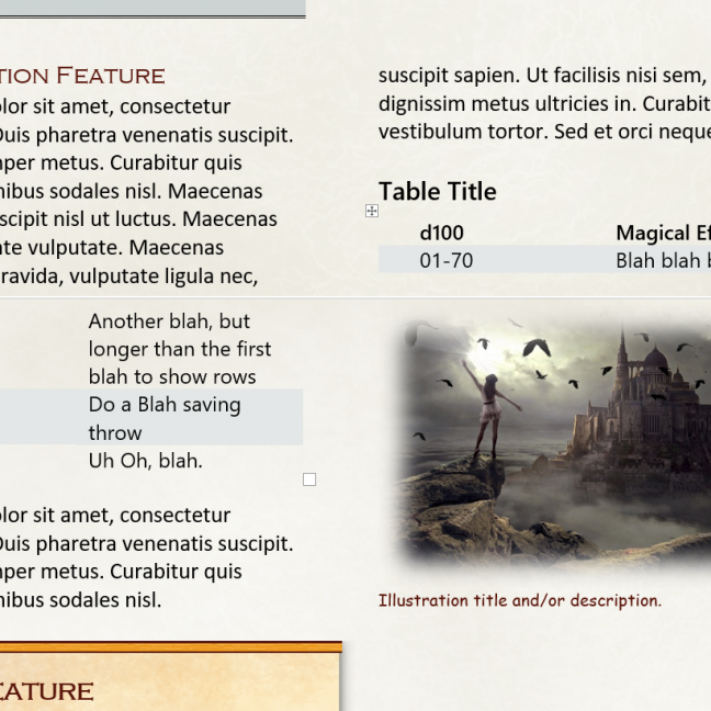 RPG template - page sample