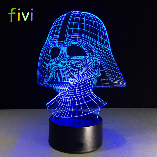 Star Wars Darth Vader Etched Acrylic Color Changing Night Light - blue
