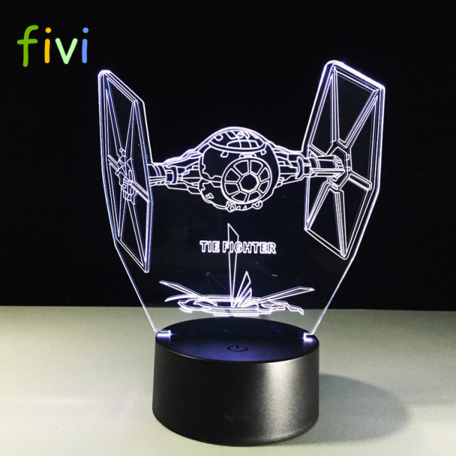 Star Wars Tie Fighter Etched Acrylic Color Changing Night Light - white