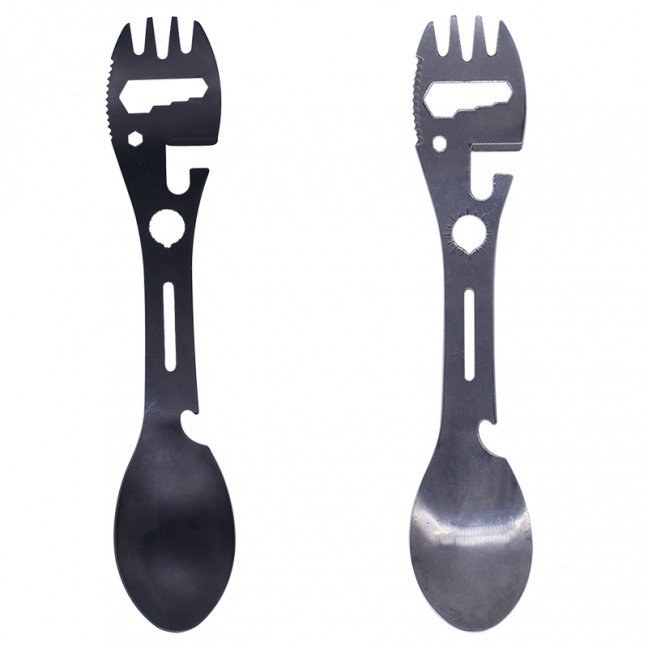 All-in-one metal survival hiking multi-function fork/spoon eating utensil and toolset