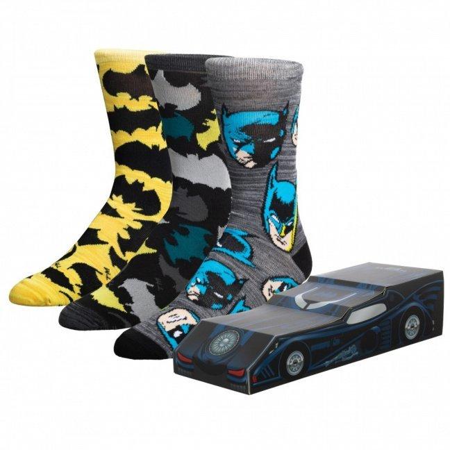 Batman Batmobile crew sock 3-pack in collector's Batmobile box designs