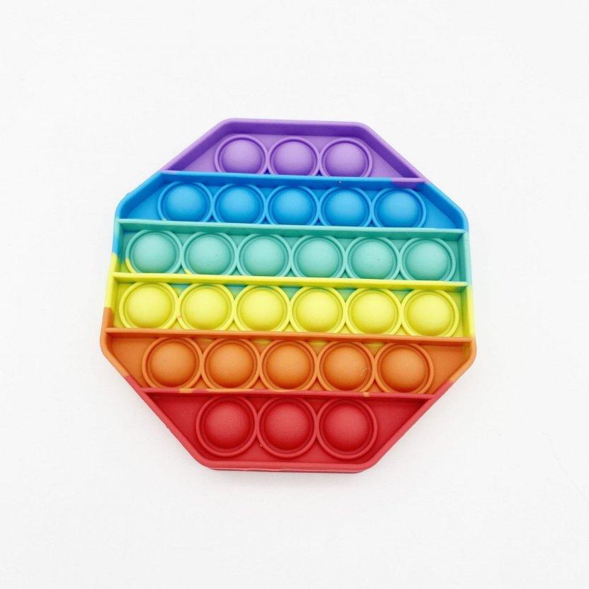 Bubble Popper Fidget Toy - Rainbow bubble popper sensory fidget toy octagon back