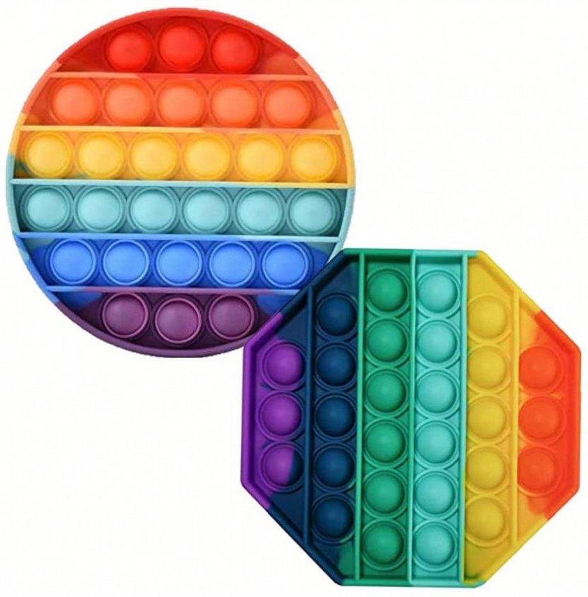 Bubble Popper Fidget Toy - Rainbow bubble popper sensory fidget toy round octagon