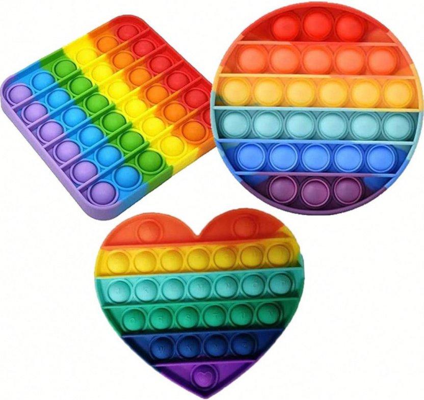 Bubble Popper Fidget Toy - Rainbow bubble popper sensory fidget toy square round heart