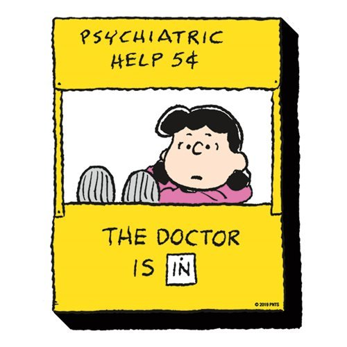 Lucy Funky Chunky Magnet - Peanuts Lucy psychiatric help booth