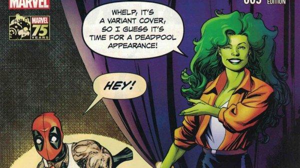 She-Hulk #9 variant cover - She-Hulk and Deadpool break the fourth wall