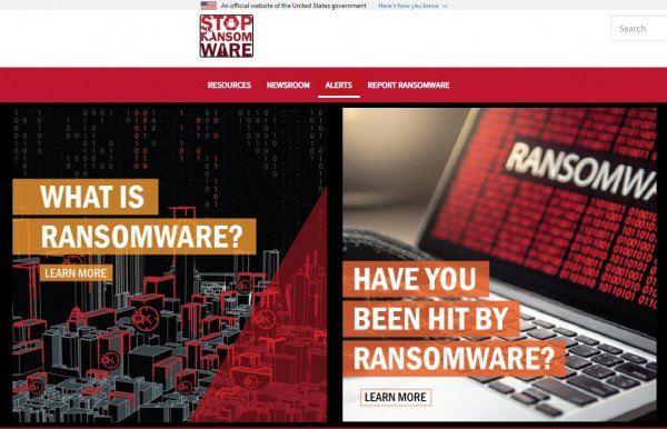 USA Stop Ransomware website home page