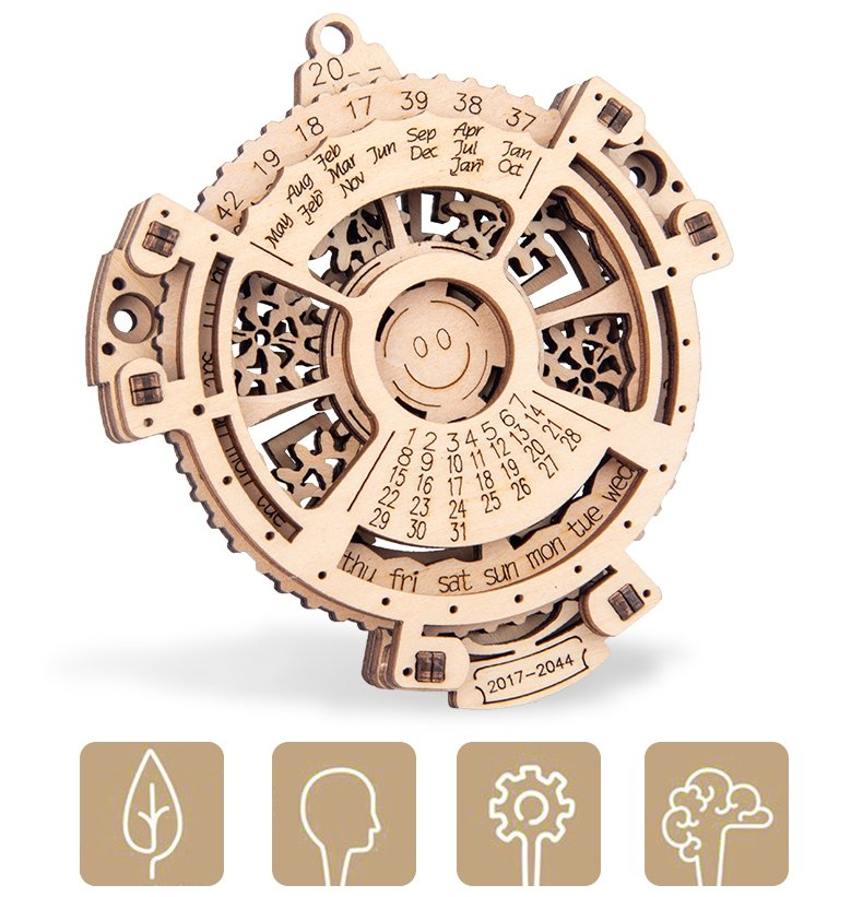 Wooden perpetual calendar model with working wooden gears 2