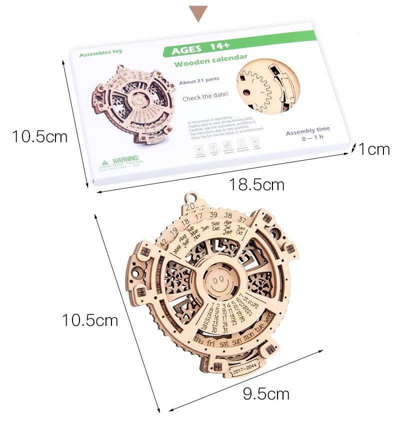 Wooden perpetual calendar model with working wooden gears measurements