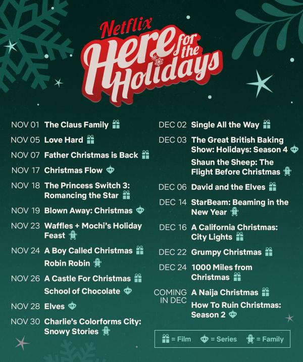 Netflix 2021 Holiday Season schedule