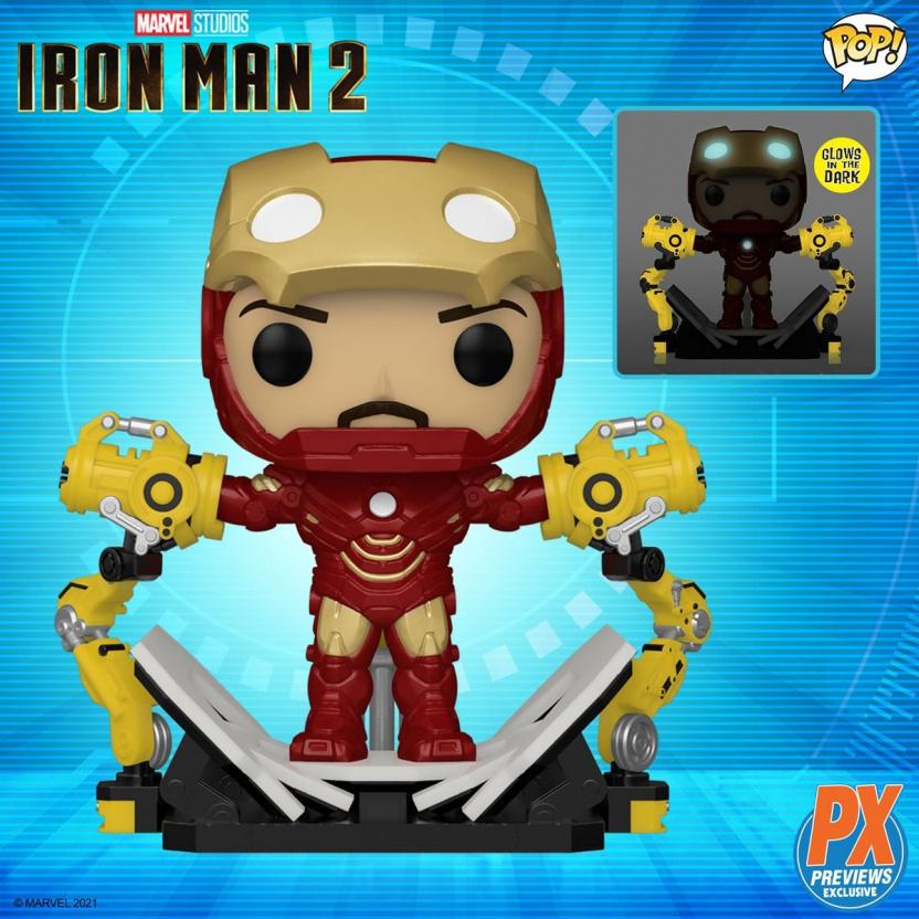 Iron Man Mark IV Suit-Up Gantry Glow-in-the-Dark 6-Inch Deluxe Funko Pop! Vinyl Figure - display
