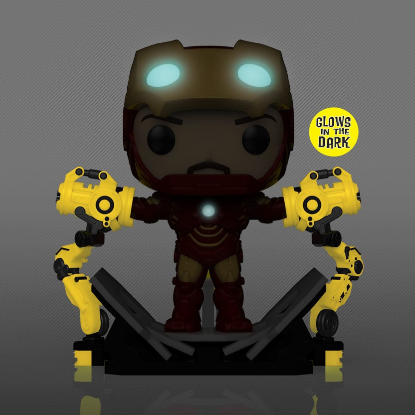 Iron Man Mark IV with Suit-Up Gantry Glow-in-the-Dark 6-Inch Deluxe Funko Pop! Vinyl Figure - glowin