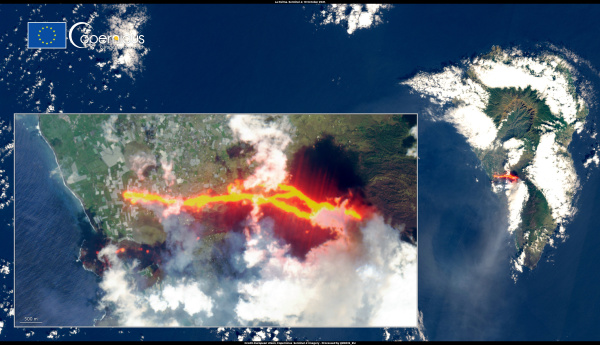 La Palma volcanic eruption as seen from space