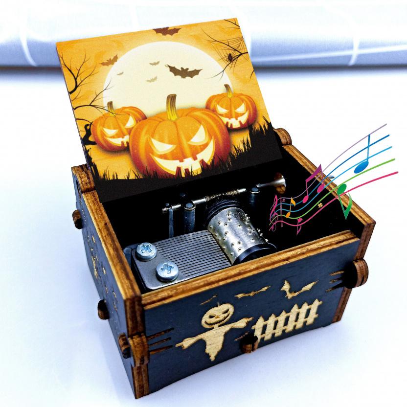 Wooden hand-crank Geek music box - Halloween