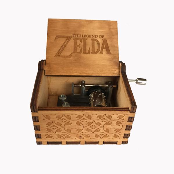 Wooden hand-crank Geek music box - Legend of Zelda